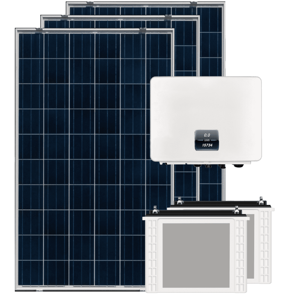 off grid solar panels inverter and battery
